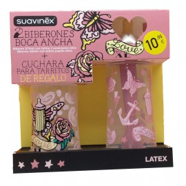SUAVINEX PACK 2 BIBERON BOCA ANCHA LATEX + REGALO