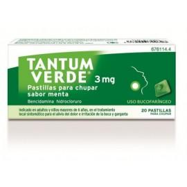 TANTUM VERDE 3 MG 20 PASTILLAS PARA CHUPAR MENTA